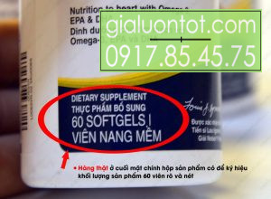 Khối lượng tịnh 60 viên dạng viêm nang mềm