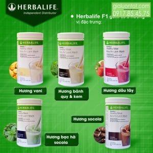 5 hương vị sữa herbalife f1 đang được cung cấp tại Việt Nam