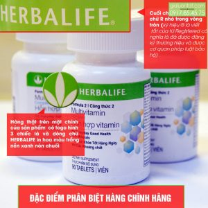 Logo Herbalife được in rõ ràng trên bao bì sản phẩm